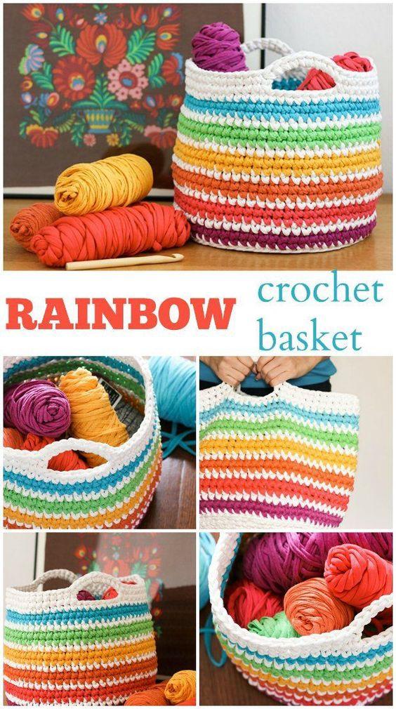 Pin Ups and Link Love: Rainbow Crochet Basket   knittedbliss.com