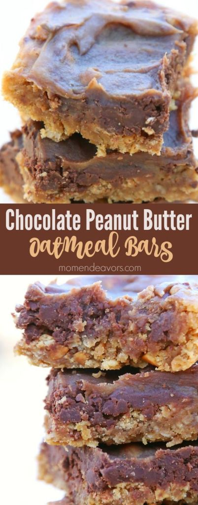 Pin Ups and Link Love: Chocolate Peanut Butter Oatmeal Bars| knittedbliss.com