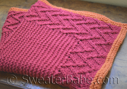free knitting pattern from the Sweater Babe is a cute lattice baby