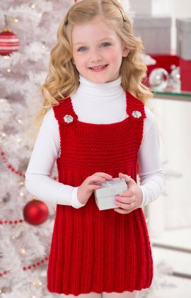 knit a cute red jumper for a little girl