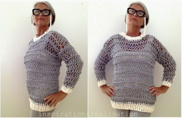 Knit a sweater out of tshirt yarn!