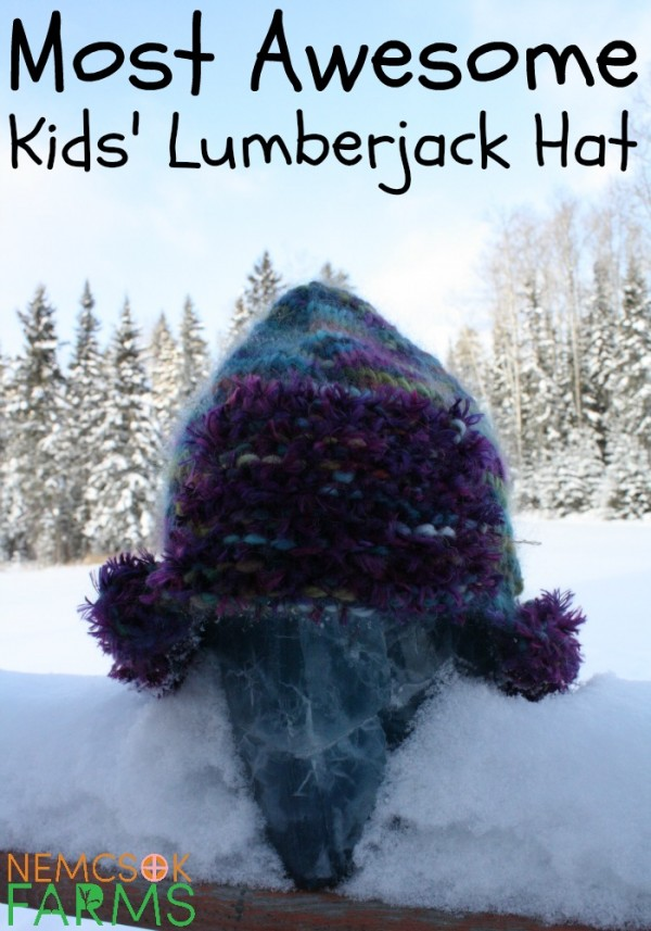 knit a warm and fuzzy lumberjack hat for kids