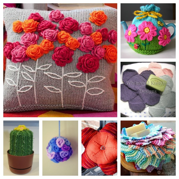flower knitting patterns for home decor