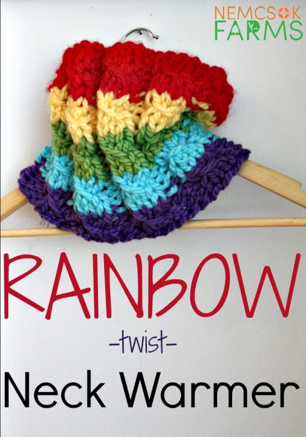 rainbow twist mock cable cowl