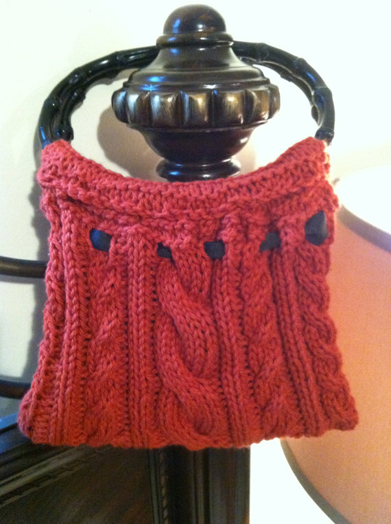 Cable-Knit Purse with Bamboo handles PATTERN knittingwithoutanet