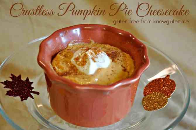 Crustless Pumpkin Pie Cheesecake from knowgluten.me - A simple, yet elegant gluten free dessert for Thanksgiving