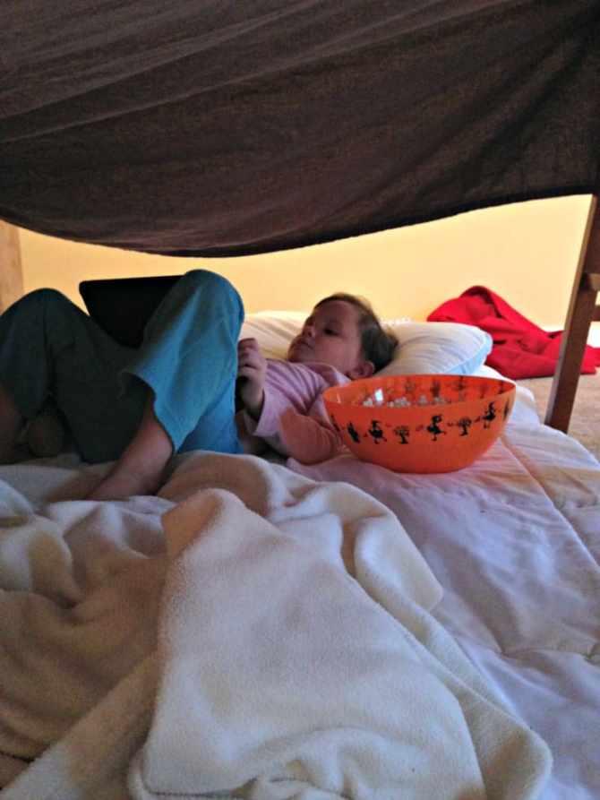 Enjoy in blanket fort.