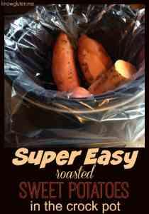 Super Easy Roasted Sweet Potatoes in the Crock Pot from knowgluten.me - easy gluten free side