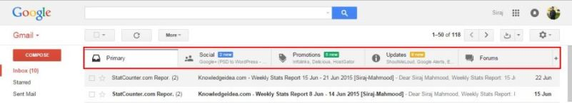 How to Enable and Disable Gmail New Inbox Tabs step 1