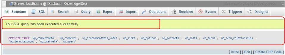 How to Optimize MYSQL Database Using PhpMyAdmin step 4