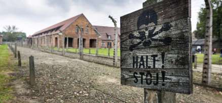 Death warning sign in Auschwitz, concentration camp in Poland