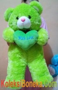 boneka teddy bear warna hijau