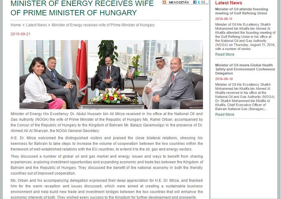 Bahrein energiaügyi minisztere fogadja a Tiborcz-Orbán duót 2015. szeptember 21-én, a jelenlévők a két országot érintő gazdasági kapcsolatokról csacsorásznak