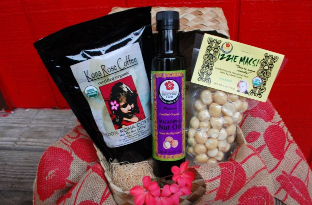Organic Gift Basket for Gourmet food lovers. Macadamia Nuts Kona Cofffee and Macadamia Nut Oil. Farm DIrect