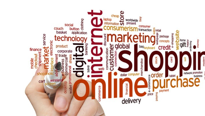 Online shopping concept word cloud background