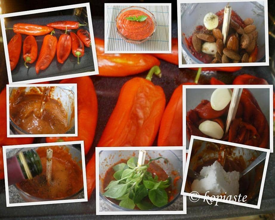 Collage How to make Piperies Florinis (Red Pepper) Pesto