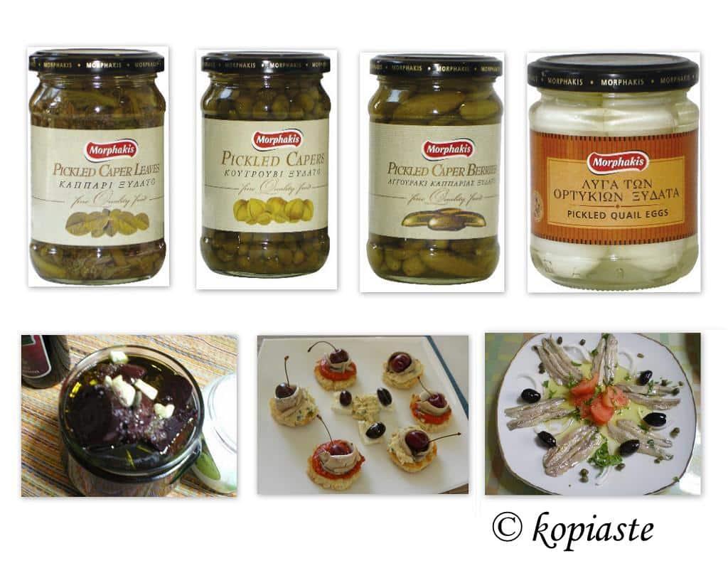 Collage pickled vegetables