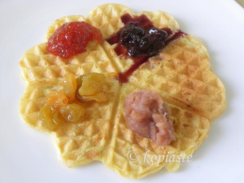 Waffle with assortment of ingredients