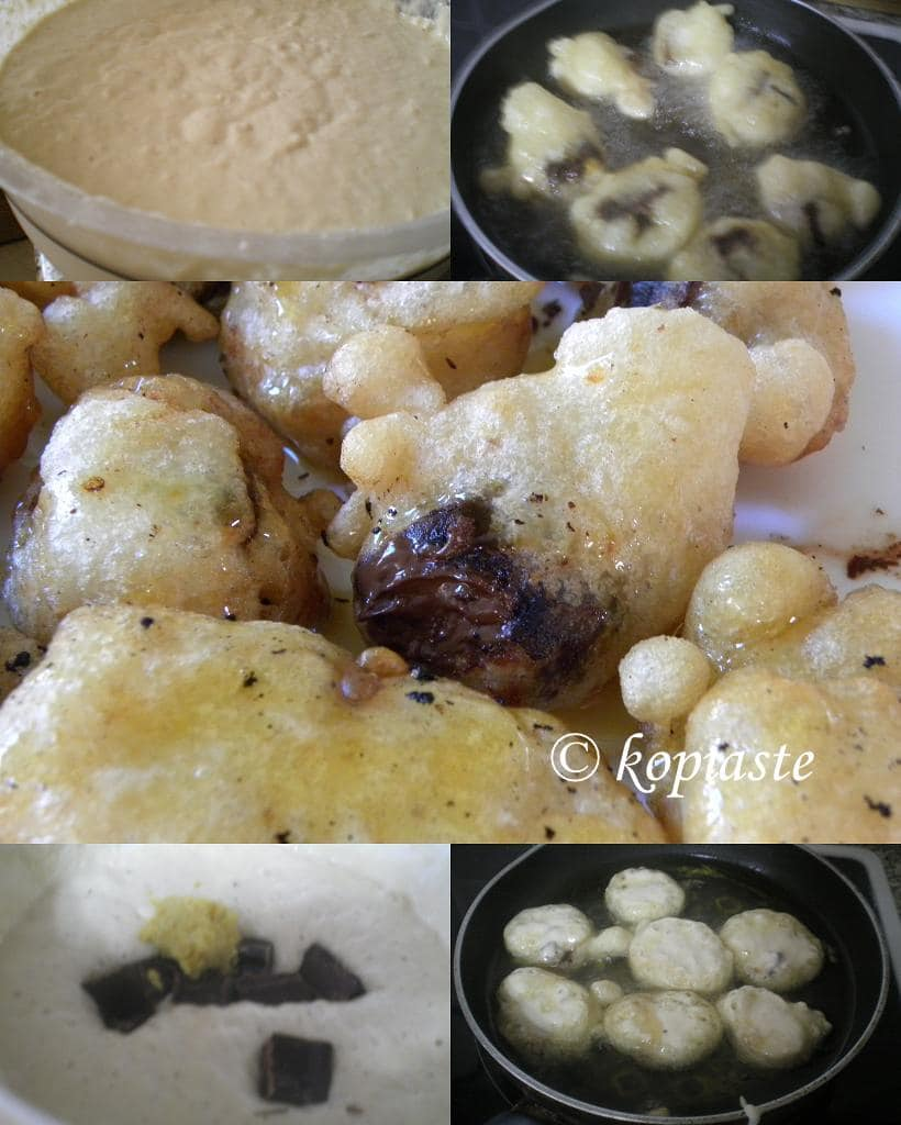 collage loukoumades with chocolate