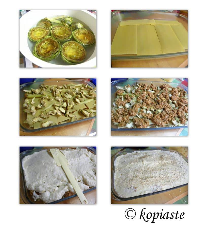 Collage first Artichoke Lasagna - Pastitsio