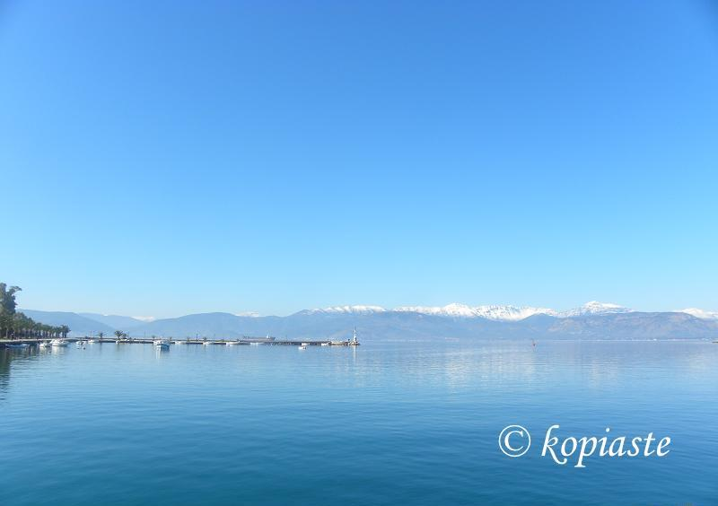 Nafplion view of mountains with snow