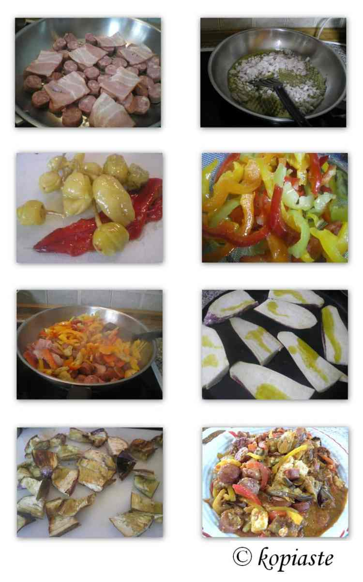 Collage Spetzofai with eggplants