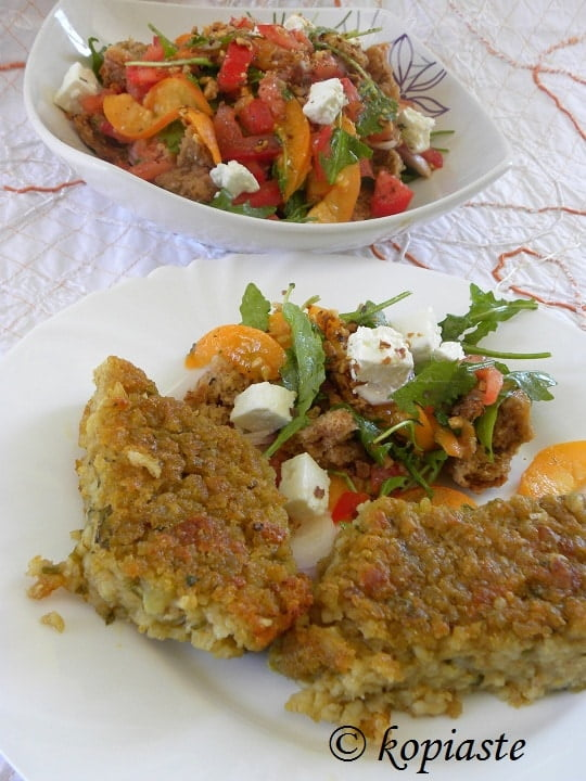 Bulgar Pie with Salad