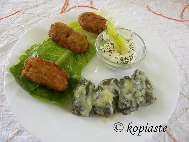Greek Fava Fritters and Lemony Minted Yoghurt