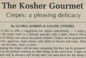 The Kosher Gourmet: Crepes A Pleasing Delicacy