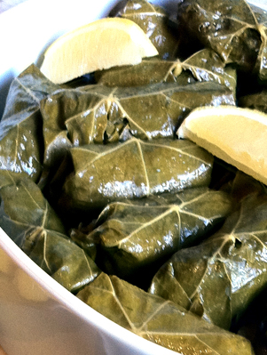 Grape Leaves Stuffed with Herbed Lamb and Rice