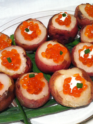 New Potatoes Stuffed with Salmon Caviar