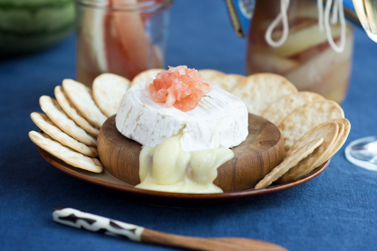Baked Brie with Watermelon Pickles