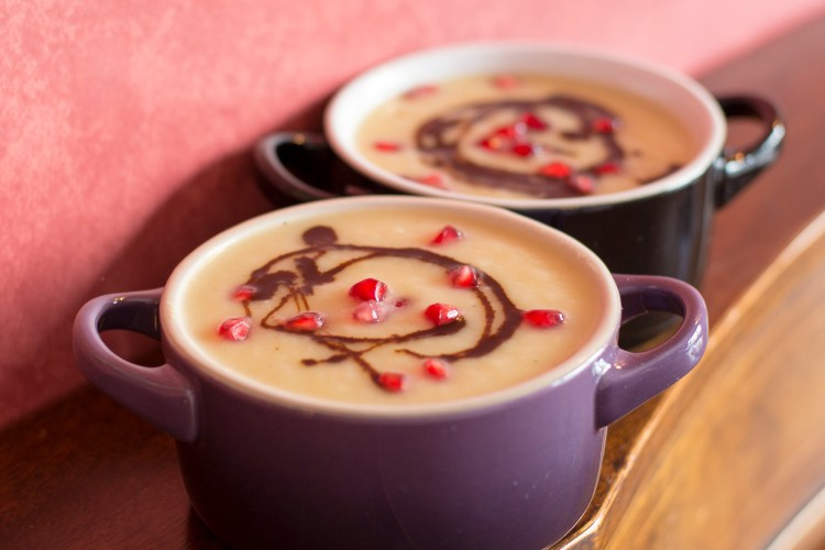 Parsnip Apple soup with Pomegranate drizzle