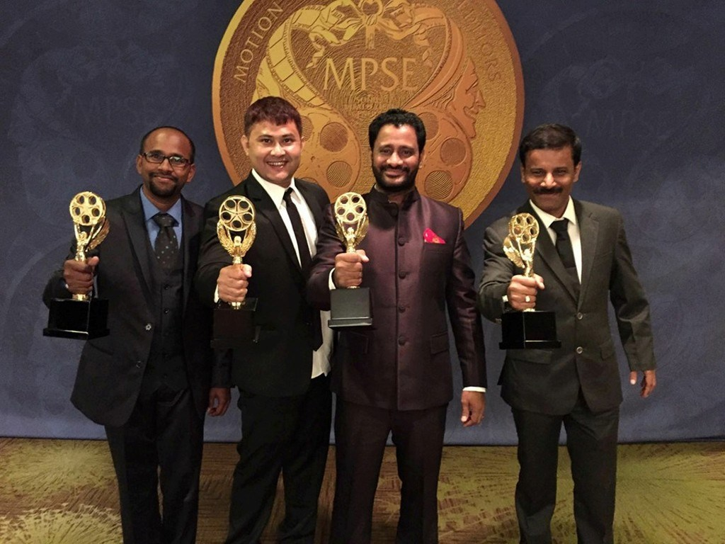 From L - Sampath Alwar, Amrit Pritam, Resul Pookutty and Vijay Kumar with the Golden Reel Awards 2016