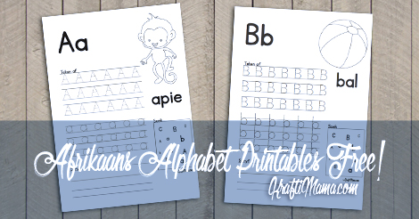 Afrikaans Alphabet letters A and B free printables