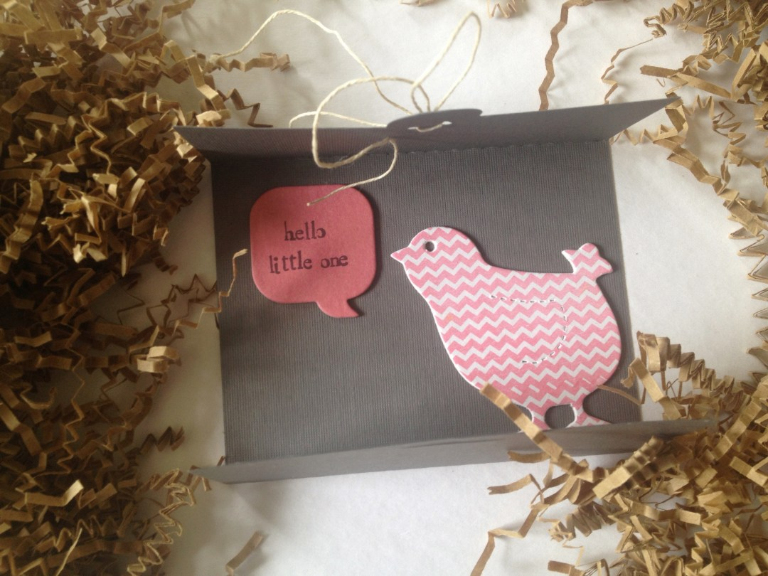 Chick note for a baby shower. I used a chevron rubber stamp and Pebbles bubble quotes. I used an alphabet rubber stamp to write the message.