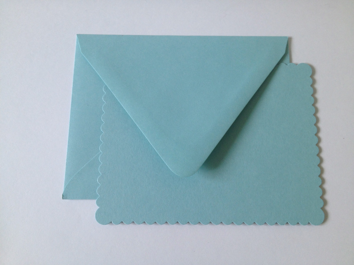 "Flat cards and envelopes ""Pool"" color sold at Papersource"