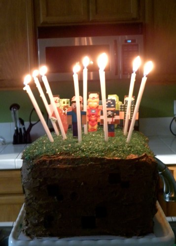 Minecraft cake with 9 candles and cake toppers in the back.