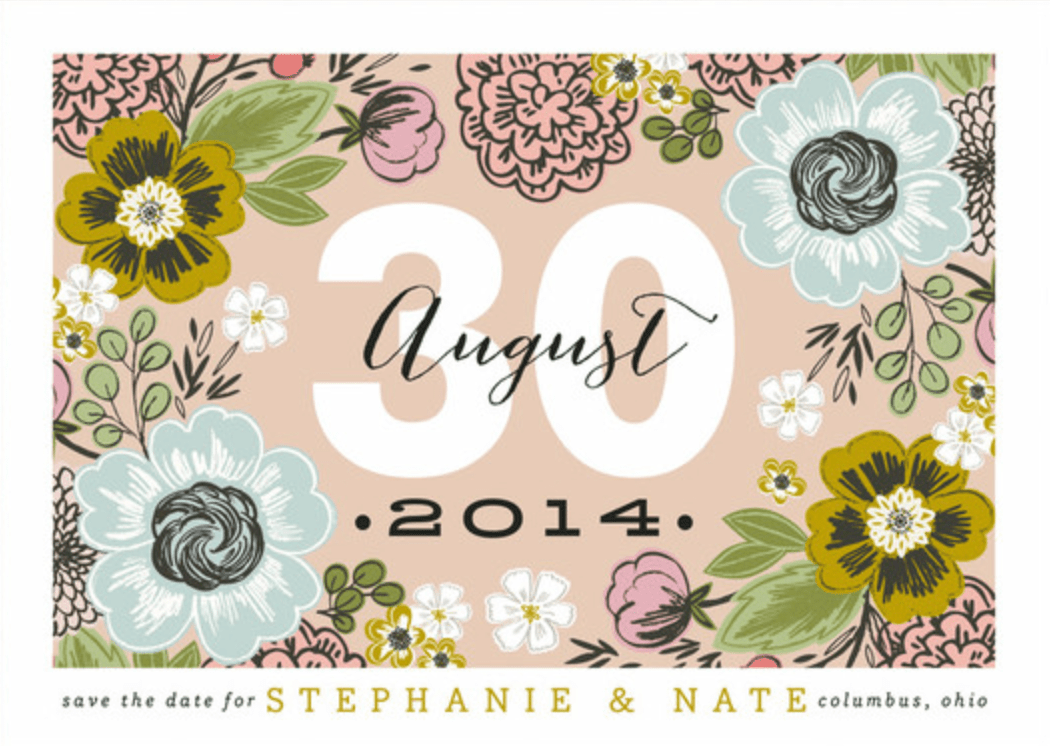 Minted 2014 Collection, Cottage Floral save the date card.
