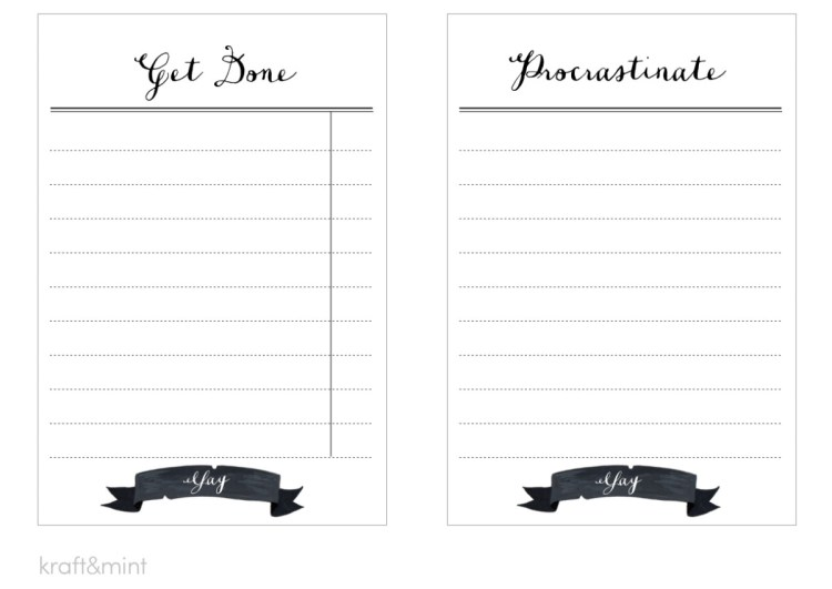 "kraft&mint ""Get done"" and ""Procrastinate"" to-do note cards"