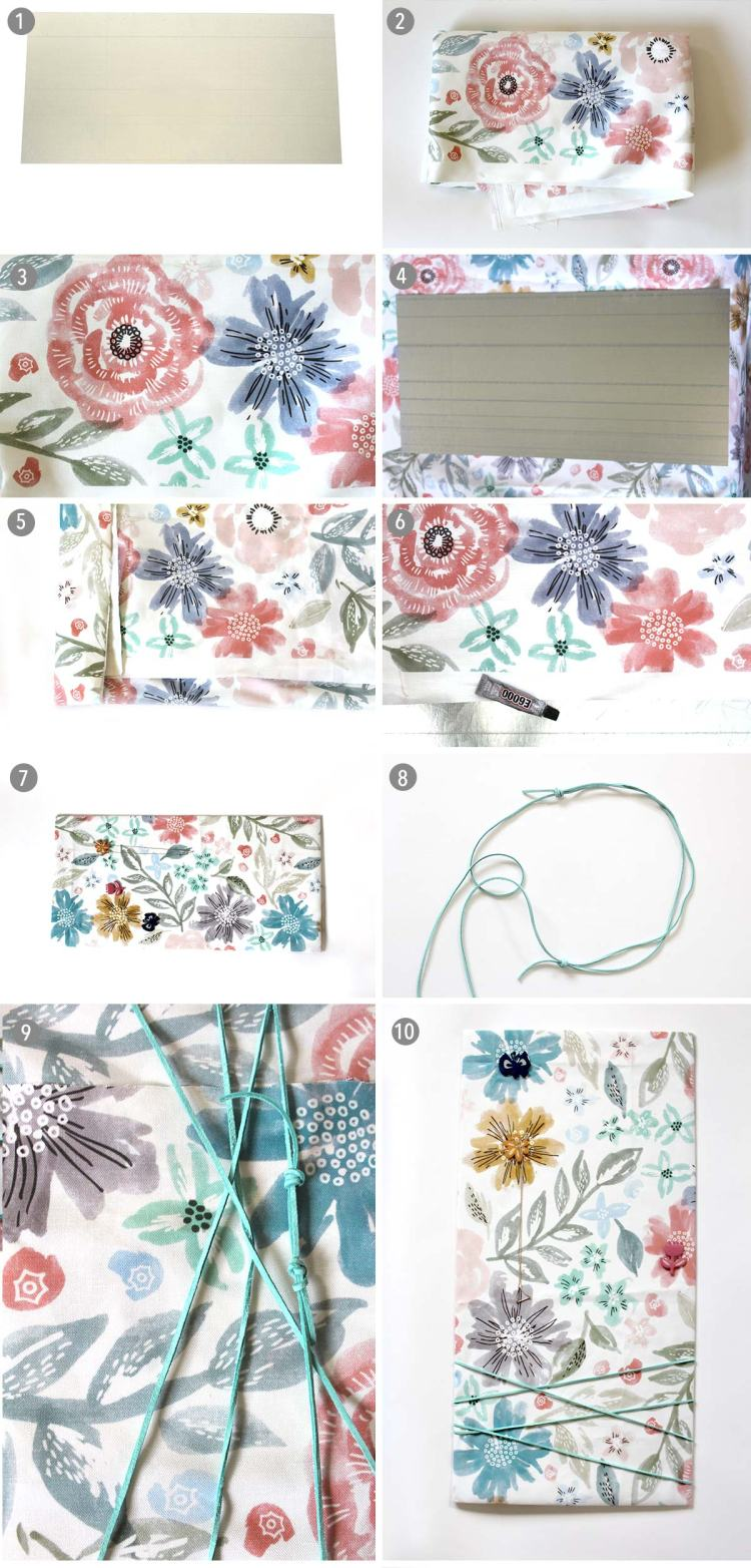 So easy Jewelry Display! Metal board + lovely minted fabric + glue kraft&mint