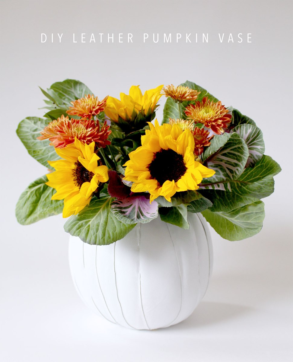 Make a leather pumpkin vase - Awesome centerpiece for Thanksgiving