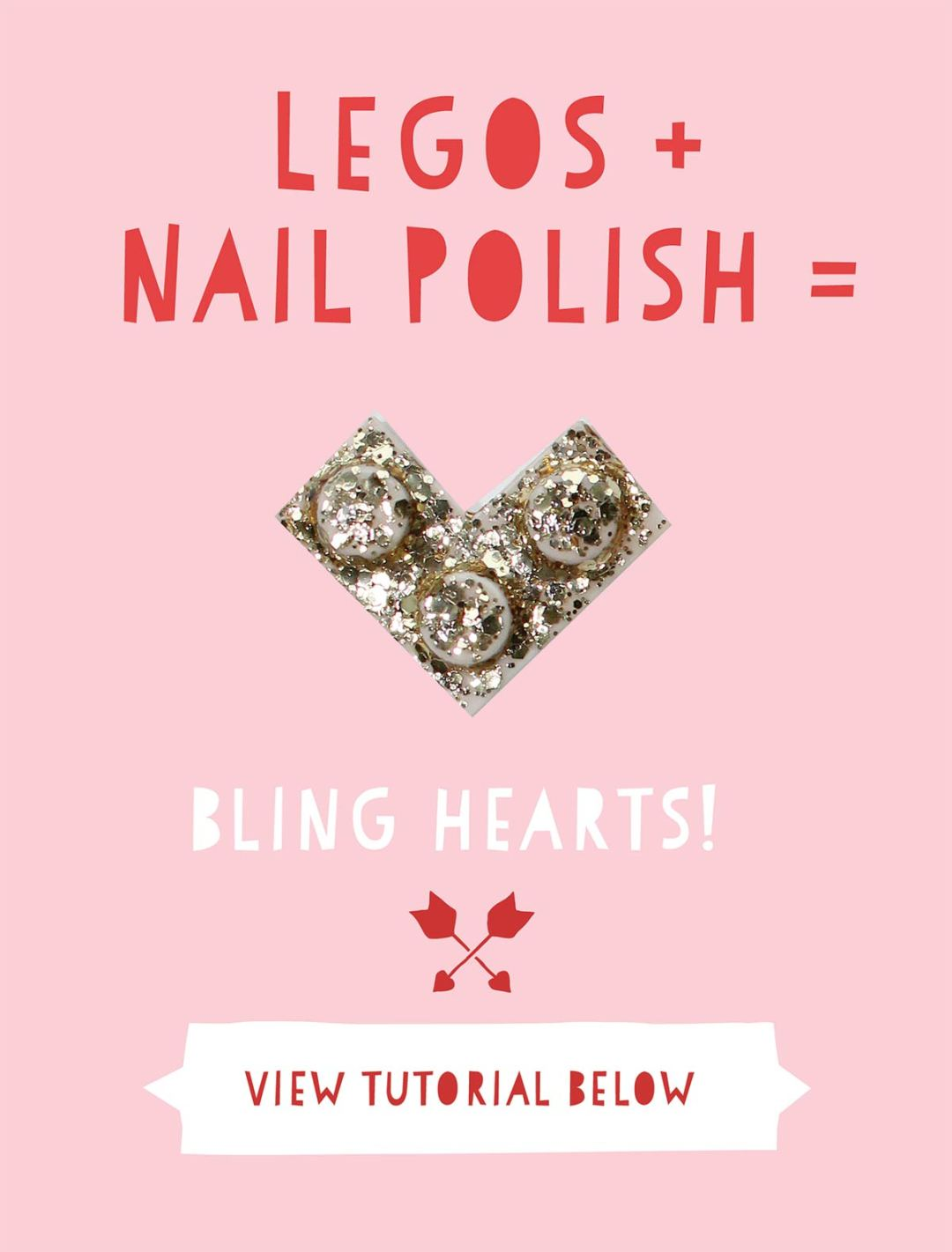 DIY Lego Valentine's Day Bling Hearts and Printable Labels