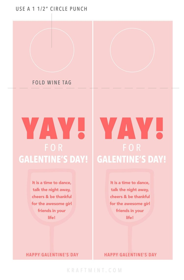 DIY Galentine's Day printable wine tags