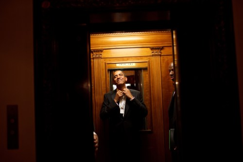 Early in the morning on Jan. 21st, President Barack Obama rides the elevator to the Private Residence of the White House after attending 10 inaugural balls and a long day including being sworn in as President at noon on Tuesday, Jan. 20, 2009. Official White House Photo by Pete Souza