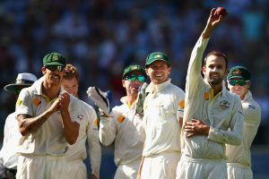 Nathan Lyon of Australia picked up his 100th Test wicket