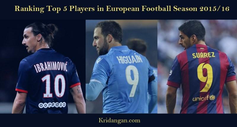 Ranking Top 5 Players in European Football Season 2015/16