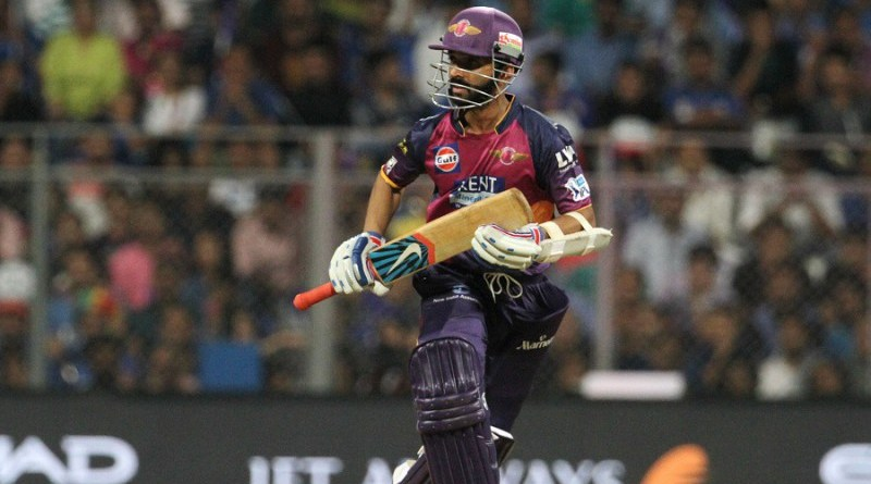 Rising Pune Supergiants player Ajinkya Rahane takes a run during match 1 of the Vivo Indian Premier League ( IPL ) 2016 between the Mumbai Indians and the Rising Pune Supergiants held at the Wankhede Stadium in Mumbai on the 9th April 2016  Photo by Vipin Pawar/ IPL/ SPORTZPICS