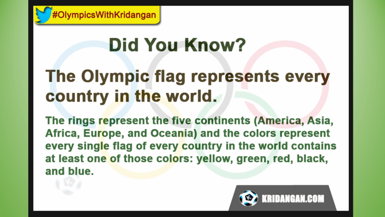 The Olympic flag represents every country in the world. The rings represent the five continents (America, Asia, Africa, Europe, and Oceania) and the colors represent every single flag of every country in the world contains at least one of those colors: yellow, green, red, black, and blue.