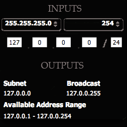 Subnet/CIDR/NetMask Calculator